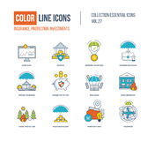 Color Line icons collection. Business insurance, investment, storage, business protection, investment idea, forest and home insurance Stock Photography