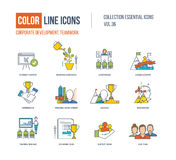 Color Line icons collection. Corporate development, teamwork concept. Royalty Free Stock Photography