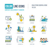 Color Line icons collection. Corporate development, teamwork concept. Royalty Free Stock Image