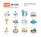 Color Line icons collection. Corporate development, teamwork concept Royalty Free Stock Photo