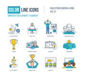Color Line icons collection. Corporate development, teamwork concept. Strategy growth, workplace, business idea, workgroup people, training courses, brainstorm Royalty Free Stock Photos