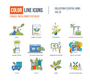 Color Line icons collection. Ecology, nature, journa of ecology, eco movement, eco housing construction,natural product, food delivery, seminar, eco oli, city Stock Illustration