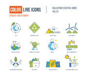 Color Line icons collection. Ecology, water conservation, waste recycling, clean energy, natural product, environment protection, clean food, ecological Stock Illustration