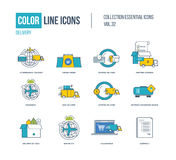 Color Line icons collection. International delivery, express and fast Stock Photo