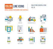 Color Line icons collection. Office, business accessories. Stock Photos
