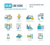 Color Line icons collection. Office, business accessories. Royalty Free Stock Images