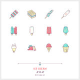 Color line icons set of Ice cream objects. Ice cream desserts, f Stock Image