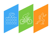 Color line logo triathlon and figures triathletes. Color line logo triathlon. Vector linear figures triathletes. Figure triathlon athletes. Triathlon, swimming Royalty Free Stock Photo