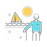 Color line, summer holiday, retirement illustration Stock Photography