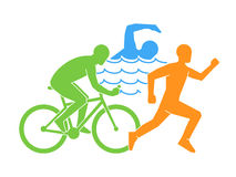Color  linear and flat logo triathlon. Stock Photo
