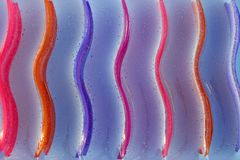 Color lines. Lines of different color on a water mattress Royalty Free Stock Images