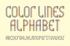 Color lines alphabet. Stylish retro font. Isolated english alphabet.  stock illustration
