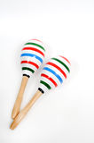 Color lining painting on double Maracas. Stock Photos