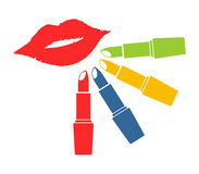 Color lipsticks Stock Photography