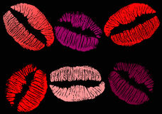 Color lipsticks isolated on black Royalty Free Stock Images