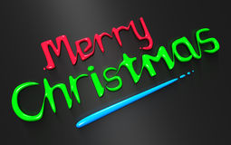 Color liquid Merry Christmas greeting. 3d illustration Stock Photo