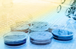 Color liquid in old plastic petri dishes.toned Stock Photos