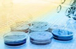 Color liquid in old plastic petri dishes.toned Stock Image