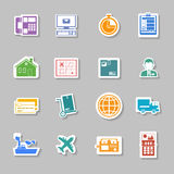Color logistic service sticker. Logistic and shipping flat color sticker set collection isolated vector illustration Royalty Free Stock Photo
