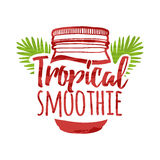 Color logo for bars, restaurants, cafes. Sign design for a smoothie bar. Symbol for menu tropical smoothie. Jar with. Decorated tropical palm leaves.Vector Stock Images