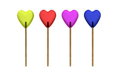 Color lollipops. In the form of hearts Stock Photo