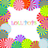 Color lollipops vector background. Color lollipops vector background with text Stock Image