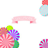 Color lollipops vector background. Color lollipops vector background with text on ribbon Stock Image