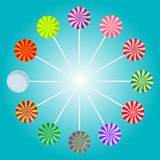 Color lollipops vector illustration. Color lollipops vector illustration on blue background Stock Images