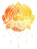 Color Lotus with boho pattern and watercolor background. Vector element for spa centers, yoga studios. Hand drawn. Doodle elements for your design Royalty Free Illustration