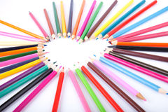 Color of love. Colour pencils laid out in the form of heart Stock Photos