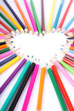 Color of love. Colour pencils laid out in the form of heart Royalty Free Stock Photos