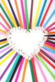 Color of love. Colour pencils laid out in the form of heart Royalty Free Stock Image