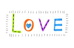 Color ``Love`` with abstract heart. Color word ``Love`` with abstract heart on white background stock illustration