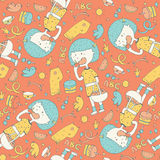 Color lovely illustration with cute little girl eating apple in seamless pattern on orange background. Girl with blue hair and yel. Low dress, pattern decorated Stock Image