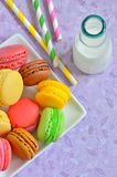 Color macaroons and milk Stock Photography