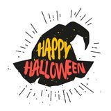 Color magic hat with lettering text Happy Halloween. Vector sticker Stock Photos