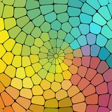 Color magic pattern of geometric shapes. Colorful mosaic banner, spiral curl background Stock Photos