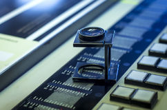 Color management in printing process with magnifying glass Royalty Free Stock Photography