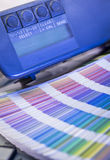 Color management in printing process withcolor swatches and densitometer Royalty Free Stock Image