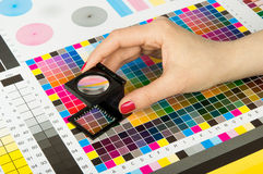 Color management in print production. Color management and quality control in print production stock photos