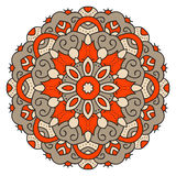 Color mandala. Eastern symmetrical circular pattern. On a white background stock illustration