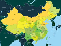 Color map of China. Administrative vector сolor map of China royalty free illustration