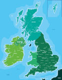 Color map of Great Britain and Ireland. Color political map of Great Britain and Ireland Stock Images