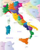 Color map of Italy. Italy map designed in illustration with the regions colored in bright colors and with the main cities. On an illustration neighbouring