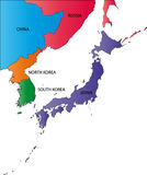Color map of Japan Stock Photo