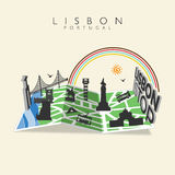 Color Map Lisbon Travel Monuments in Lisbon. Worls Travel Monuments in Lisbon with Sun and Rainbow in Map. Vector illustration Royalty Free Stock Image