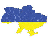 Color map of Ukraine with the regions. Royalty Free Stock Photos