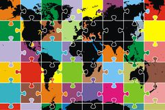 World map as puzzle. Color map of the world as puzzle Stock Photo