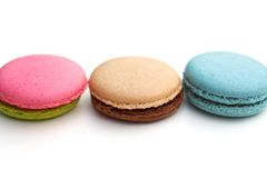 Color marcaron. The colorful macarons are isolated on white background Stock Images