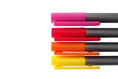 Color marker pen. Red, Orange ,Yellow and Pink marker pen with white background Royalty Free Stock Photos